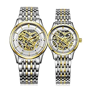 Starking Men's & Women's AM/L0185 Two-Tone Skeleton Automatic Wrist Watches for Couple