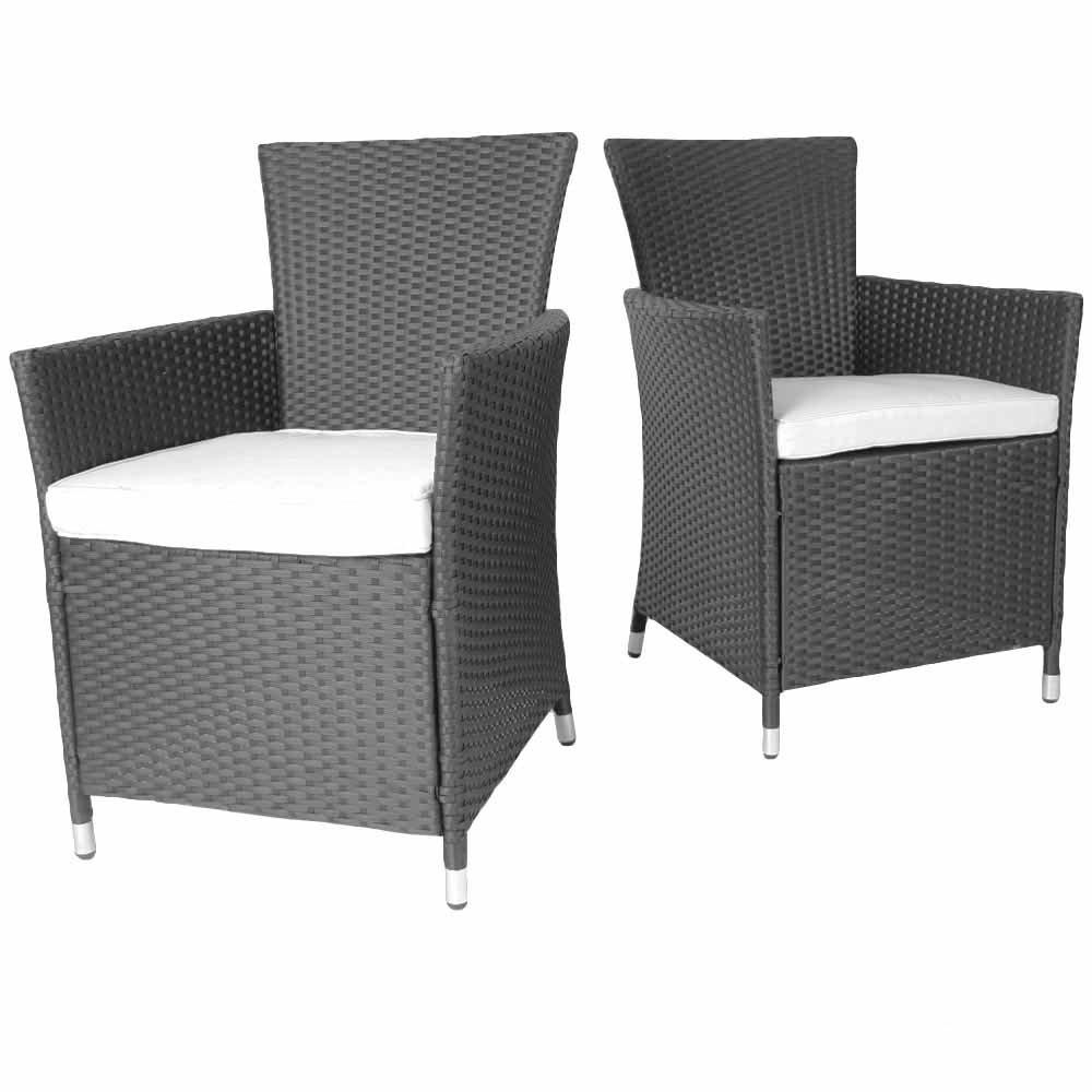 Miadomodo Bequeme Stühle aus Polyrattan in Grau Gartenmöbel im 2er Set inkl. Sitzkissen