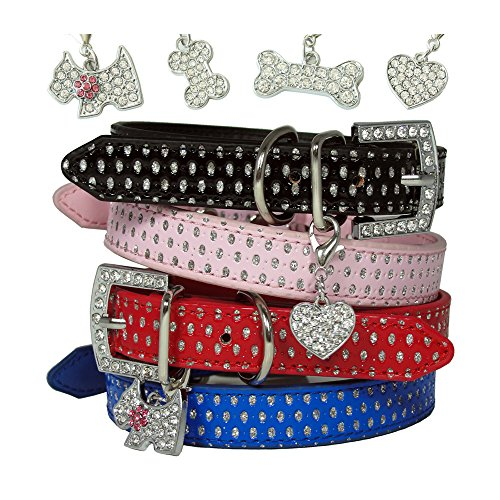Fancy Bling Silver Polka Dot Pet Dog Cat Adjustable PU Leather Collar with Rhinestone Buckle & Pendant Black Blue Pink Red XS S M Extra Small Medium (1. Extra Small)