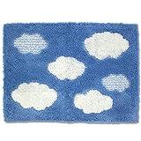 オカ バスマット 乾度良好 クラウド 吸水 抗菌 防臭 ブルー 約45×60cm