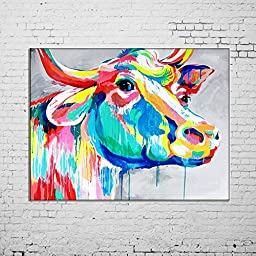 Osm Art Hand Painted Animals Oil Painting on Canvas Hang Picture Abstract Color Cow Wall Art for Living Room Decor Modern Painting No Frame Paintings