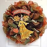 New! Autumn Harvest Blessings Angel Wreath Large Handmade Deco Mesh