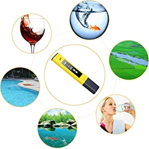 Digital PH Meter, WECHIC 0.01 PH High Accuracy Water Quality Tester with 0-14 PH Measurement Range for Household Drinking, Pool and Aquarium Water PH Tester Design with ATC (Yellow)