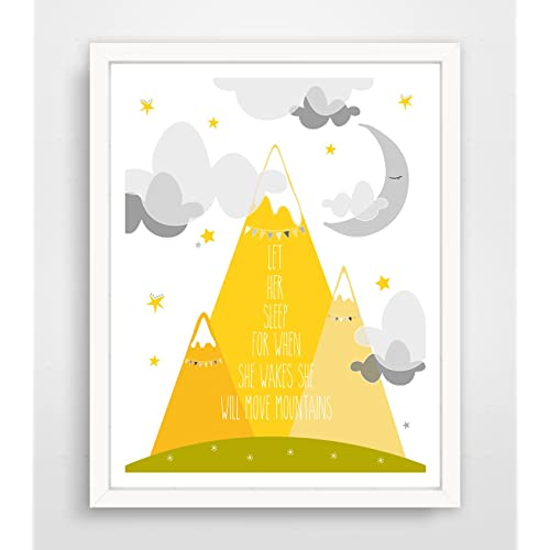 Let Her Sleep For When She Wakes She Will Move Mountains Yellow Print Frame Not Included
