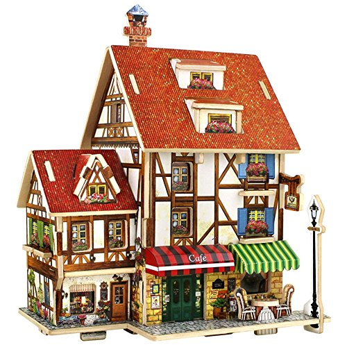 DIY 3D Wood House Puzzle Kids Wooden Toy House Coffee Lodge Home Coffee Cafe Shop Jigsaw Model Kit (Castle Model Wood compare prices)