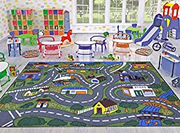 Jenny Collection Children Rug Grey Base Mith Multi Colors Kids Rug Children\'s Educational Road Traffic Machine-washable Non-slip Area Rug (5\'x6\'.6\'\') New Kid Rug