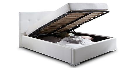 Polsterbett BETTY Kunstlederbett mit Bettkasten Lattenrost 180x200 Weiss Doppelbett