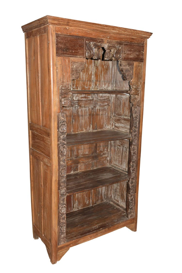Antique Traditional Hand Carved Indian Book Case Bookshelf Arched Frame Wood 2