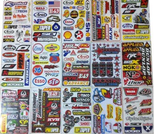 Set Of Assorted 15 Sheets Atv Helmet Moto Rc Vinyl Car Stickers Decals