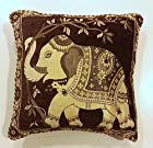 Unique and Elegant Embroidered Indian Throw Pillow Cushion Covers for Couch 15x15 Inch Set of 2 Brown Elephant Design