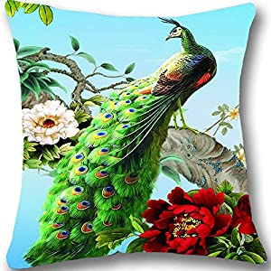 CCTUSGSH Vivid Peacock Pattern Cotton Throw Pillow Case Cushion Cover 18 X 18 Inches One Side from CCTUSGSH