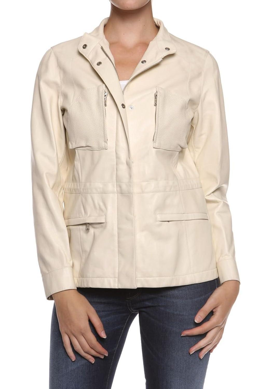 Cristiano di Thiene Damen Jacke Lederjacke BLUNDA, Farbe: Creme jetzt kaufen