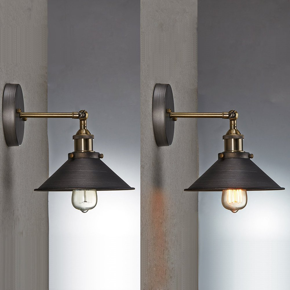 Sanyi Vintage Wall Light Fixture Industrial Edison Simplicity 1 Light Wall Mount Light Aged Steel Finished Wall Sconces 6