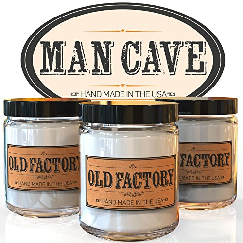 Scented Candles - Man Cave - Set of 3: Straight Razor, Leather, and Mahogany - 3 x 4-Ounce Soy Candles
