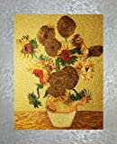 PEA Designs, Van Gogh's Sunflowers Wall Décor, Chinese Su Embroidery Pattern, Timeless Wall Hanging Artwork, Elegant Needlepoint Tapestry, Traditional Wall Art for Room Decoration, Unique Housewarming Gift Idea, 20-1/8