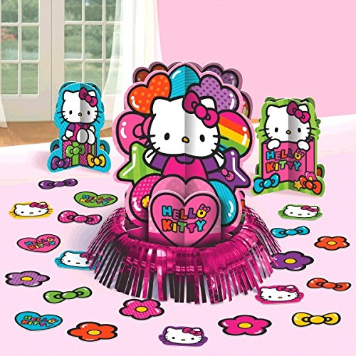 New Hello Kitty Rainbow Party Table Decorations Kit ( Centerpiece Kit ) 23 PCS - Kids Birthday and Party Supplies Decoration