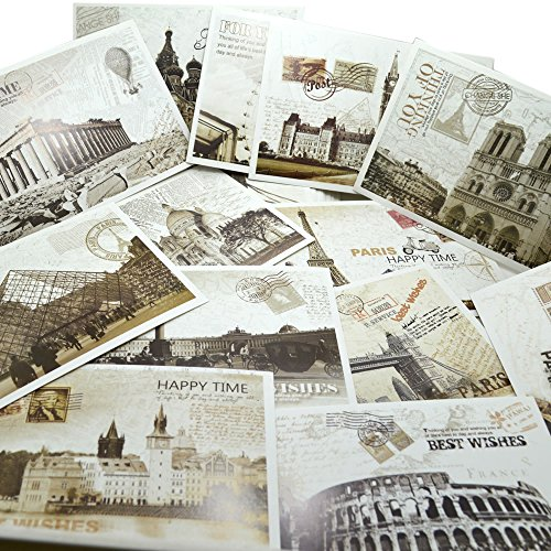 Bonayuanda 36 PCS Retro Old Travel Postcards Vintage Landscape Photo Picture Poster Post Cards Greeting Cards for Worth Collecting 1 Set (World Postcards compare prices)