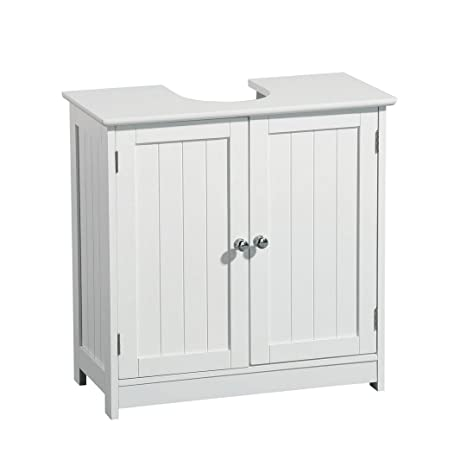 Protege Homeware White Wood Chrome Handle Under Sink Cabinet