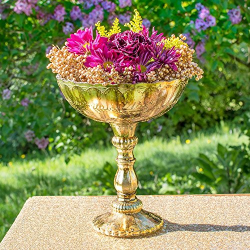Gold Mercury Glass Compote, Scalloped Edge, Relief Pattern, 9.5 inch, Antique Inspired, Bowl, Pedestal, Centerpiece, (Gold) (Centerpiece Pedestal Bowl compare prices)