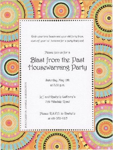 Celebration Circles Retro Printable Invitation Cards & Envelopes, Set of 10 - 1