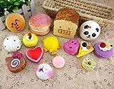 15pcs/lot Cute Cell phone Squishy Cake/Panda/ Tortoise/Toast Kawaii Straps Chain