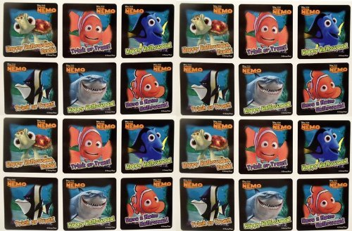 "FINDING NEMO HALLOWEEN STICKERS - Finding Nemo Halloween Trick or Treet Party Favor Sticker Set Consisting of 45 Stickers Featuring 6 Different Designs Measuring 2.5"" Per Sticker Featuring Nemo, Bruce, Dory and Squirt"