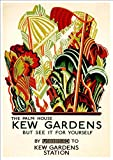'LONDON UNDERGROUND - KEW GARDENS, THE PALM HOUSE' 1926 - A4 Glossy Print (A4 PRINTS - VINTAGE RAILWAY ADVERTISING POSTERS)