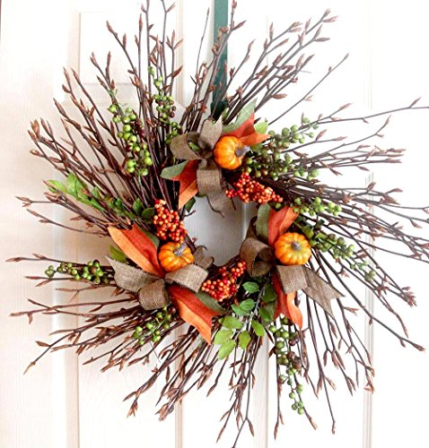 Rustic fall wreath with berries, fall door décor, Thanksgiving wreath, fall twig wreath, rustic wreath, autumn berry wreath fall home decor, beech wreath