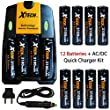 12 AA NiMH Rechargeable Batteries 3100mAh + AC/DC Quick Charger Kit for Nikon Coolpix L840, L830, L820, L810, L620 L610, L330, L320, L310, L32, L31, L30, L28, L26 Digital Cameras.
