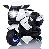TAMCO Kids Motorcycle Electric Ride On Toy Motorcycle with Lighting Wheels, MP3 Music Playing, 2 Training Wheels, 2 Side Box for Child 2-5 Years Old Max Load 66LB (Color: White)