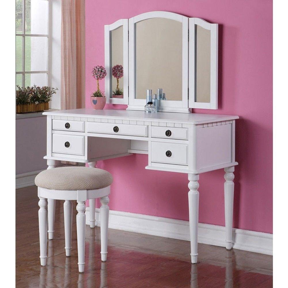Tri Folding Mirror Vanity Set Makeup Table Dresser w/ Stool 5 Drawer White Wood