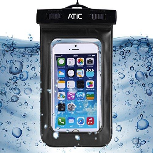 ATiC ストラップ付き透明防水ケース - iPhone 6 / 6 Plus / 5 / 5S / 4 / 4S, Samsung Galaxy S6 / S6 Edge / s6 edge+ /S5 / S4 / S4 Active, Note 4,Note 5, iPod Touch 3 / 4 / 5, HTC ONE X / ONE S Z520E / ONE M9, Windows Phone 8 ( ATT, T-Mobile, Verizon ), Motorola DROID RAZR /MOTO G3/ LG G2 / G3 / Droid Turbo, LG G Flex 2, Nexus 4 / Nexus 6, Zenfone 2, Sony Z1 / Z2 / Z3(5.7インチ以下の携帯)に適用 Waterproof 防水 ケース。防水保護等級 : IPx8。BLACK