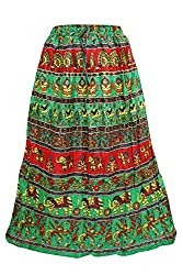 Indiatrendzs Women's Skirts Green/Red Sexy Animal Printed long Maxi Skirt