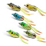 Supertrip Topwater Frog Crankbait Tackle Crank Bait Bass Soft Swimbait Lures Crankbaits Baits Hard Bait Fishing Lures Color 6pcs (Color: 6pcs)