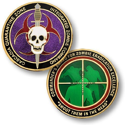 Zombie Challenge Coin - Cascadia Quarantine Zone Commander's Award