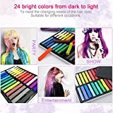 Temporary Hair Chalk - Non-Toxic Rainbow Colored Dye Pastel Kit- Color Essentials Set (24 COUNT) - BIG BOUNS (3 Pairs Disposable Gloves & 3 Disposable Shawls) by SySrion (1)