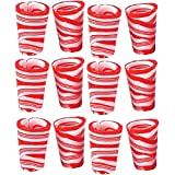 (Set/12) Edible Peppermint-Flavored Candy Cane 2 Oz Christmas Shot Glasses