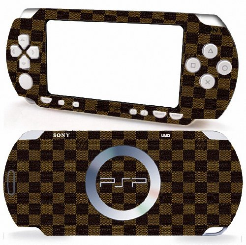 LV Leather Pattern Design Sony PSP 2000 Slim Vinyl Skin Decal Cover Sticker Protector (Matte Finish)+ Free Screen Protector