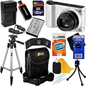 """Samsung WB200F 14.2MP Smart Wi-Fi Digital Camera with 18x Optical Zoom, 3.0"""" Touch Screen LCD & HD Video (White) + SLB-10A Battery & AC/DC Battery Charger + 9pc Bundle 32GB Deluxe Accessory Kit w/ HeroFiber® Ultra Gentle Cleaning Cloth"""