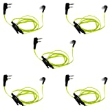 KENMAX 2 PIN Noodles Cable Earpiece Headset Green for Baofeng BF-F8HP UV-6R Wouxun KG-UV6D KG-UV899 (5 PACK) (Color: 3)Pack of 5)