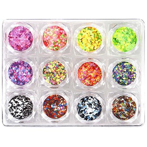 BMC Cool Funky 12pc Neon Matte Multicolored Multi-shaped Nail Polish Art Accessory Glitter Pot Set (Multi Colored Nail Polish compare prices)