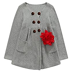 Richie House Big Girls' Cardigan-sweaters with Flower RH0152-9/10
