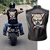 12.4'' Wolf Patch Large Motorcycle Backpack Patches Punk Rocker Rider Motorcycle Biker Back Patches Jacket Patches Applique Iron on/Sew on Embroidered Iron On Patch for Jackets | (Wolf) (Color: Wolf patch)