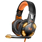 VersionTECH. G2000 Stereo Gaming Headset for Xbox one PS4 PC, Surround Sound Over-Ear Headphones with Noise Cancelling Mic, LED Lights, Volume Control for Laptop Mac PS3 iPad Nintendo Switch - Orange (Color: Orange)