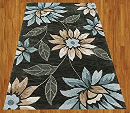 Homemusthaves Blue Brown Green New Modern Contemporary Floral 3D Polyester Wool Area Rug Carpet (2.6x4 Feet)