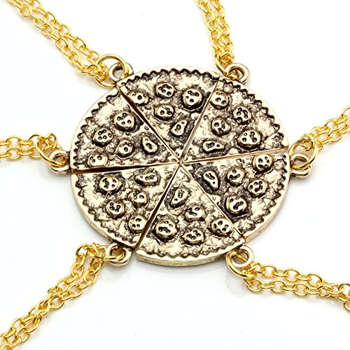 Top Plaza Unisex Women's Men's Gold/ Antique Silver Pizza Pendant Friendship Necklaces Set of 6 (Gold Pizza + Gold Iron Chain)