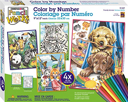 Dimensions Pencil by Number, Friendly Animals Variety Pack (Color Pencil By Number compare prices)