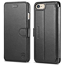 iPhone 6S Plus Case, SHIELDON Genuine Leather iPhone 6 Plus Wallet Case [Ultra Slim] [Card Slot] [Magnetic Flip] [Stand] Book Style Cover Case for Apple iPhone 6S Plus and iPhone 6 Plus, Black