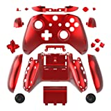 WPS Chrome Color Case Housing Full Shell Set Faceplates + ABXY Buttons + RB LB Bumpers + Right/Left Rails for Xbox One S Slim (3.5 mm Headphone Jack) Controllers (Chrome Red) (Color: Chrome Red)