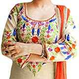 Reet Glamour Women s Cotton Unstitched Wheat With Orange Punjabi Suit